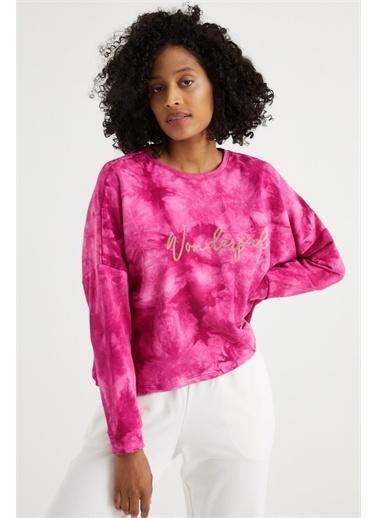 Curly  Batik Desenli Taşlı Sweatshırt Pembe